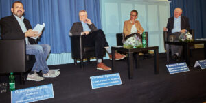 Podium mit (v.l.n.r.) Giuseppe Gracia (Moderation), Ch. Spaemann, S. Kummer, N. Herzog